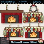 Christmas Fireplaces 2 Clipart - CU
