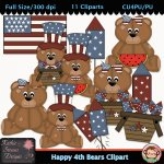 Happy Fourth Bears 1 Clipart - CU