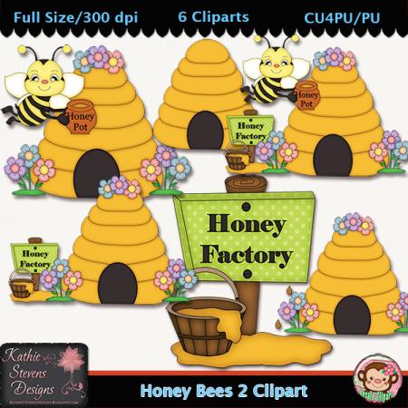 Honey Bees 2 Clipart - CU