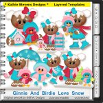 Ginnie And Birdie Love Snow Layered Templates - CU