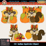 Indian Squirrels Clipart - CU
