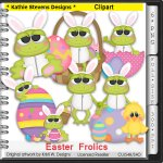 Easter Frolics Frogs Clipart - CU
