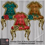 Vintage Chair And Rose Layered Template CU