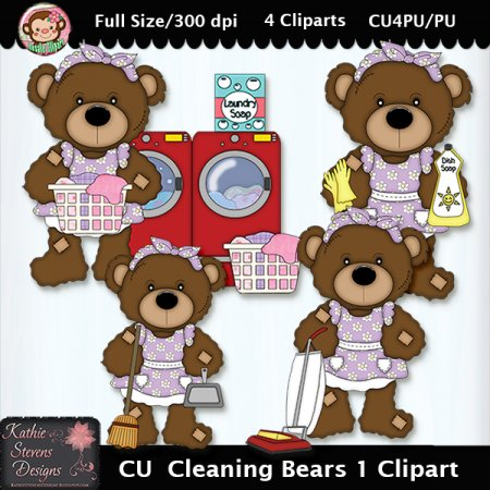 Cleaning Bears 1 Clipart - CU
