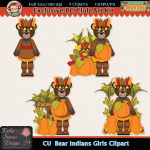 Bear Indians Girls Clipart - CU