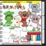 Potty Animals Clipart - CU