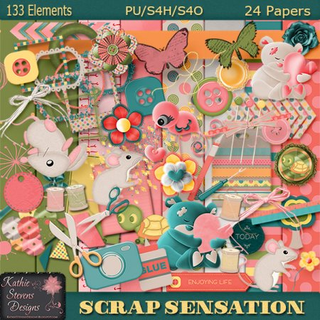 Scrap Sensations Kit With CU Bonus Alpha