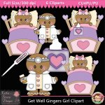 Get Well Gingers Girl Clipart - CU