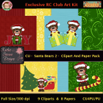 Santa Bears 2 Clipart And Paper Pack - CU