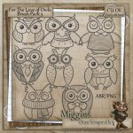 CU Hand Drawn For the love of Owls Digistamps and Abr 3
