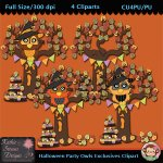 Halloween Party Owl Exclusives Clipart - CU