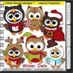 Winter Owls Layered Templates - CU
