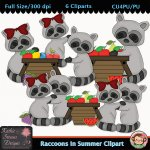Raccoons In Summer Clipart - CU