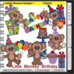 Little Monkey Birthday Clipart - CU