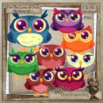 CU Hand Drawn For the love of Owls Clipart Stickers 1